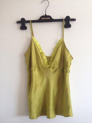 Guess Seidenoberteil Seidentop Trägershirt Seide grün Volants Rüsche sexy feminin Farbe
