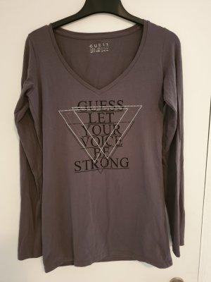 Guess V-hals shirt zilver-grijs
