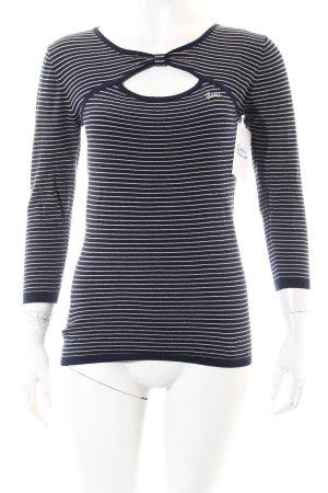 Guess Shirt dunkelblau-weiß Streifenmuster Casual-Look