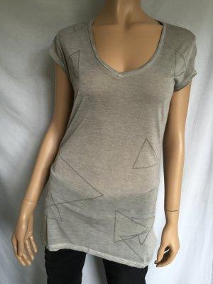 Guess Shirt Gr.S Grau graues Strass T-Shirt V-Ausschnitt leicht transparent