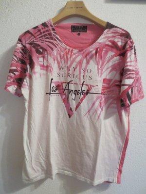 Guess Shirt in Pink, weiß, Aufdruck, Gr. M