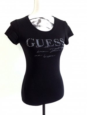 GUESS Shirt Top Women black + Typografie Print XS