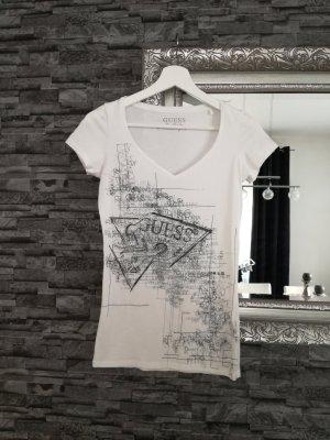 Guess Shirt weiß Aufdruck schwarz XS