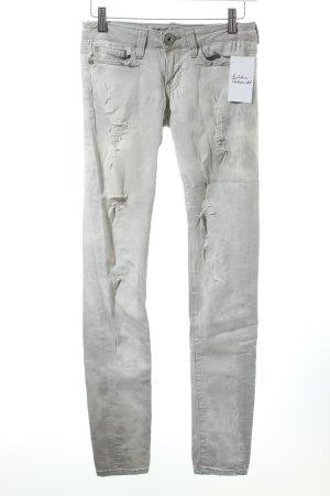 Guess Slim Jeans hellgrau-wollweiß Batikmuster Destroy-Optik