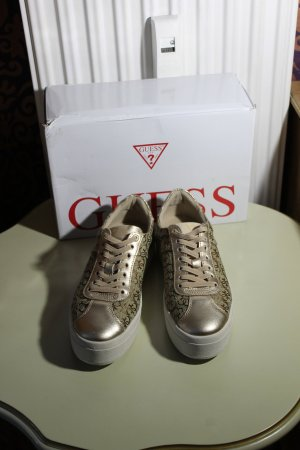 Guess Zapatilla brogue marrón-color oro fibra textil