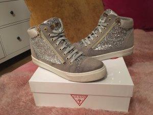 Guess Zapatillas altas color plata-gris claro