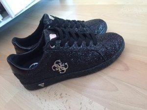 Guess Sneaker schwarz glitzer glitter silber low neu