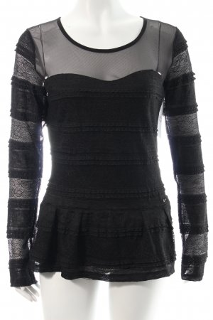 Guess Spitzenbluse schwarz Casual-Look