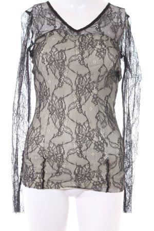 Guess Blusa in merletto nero-crema motivo floreale stile top