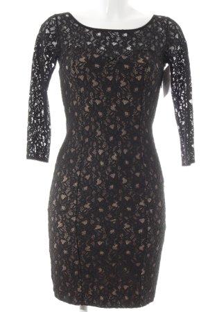 Guess Vestido de encaje negro-beige estampado floral estilo romántico