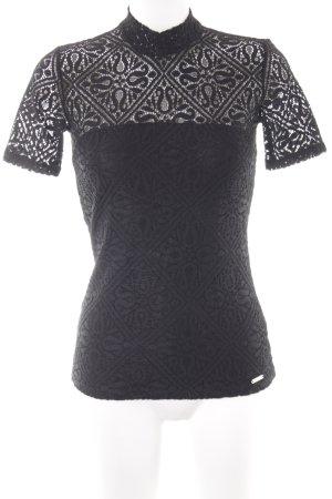 Guess Kanten topje zwart verfraaid patroon elegant
