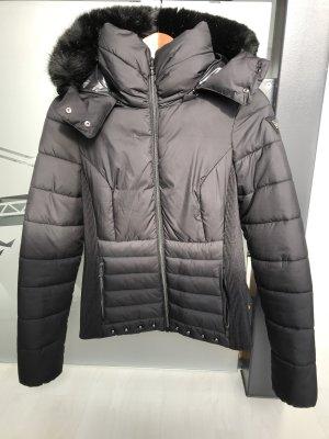 Guess Quilted Jacket dark grey-black fake fur
