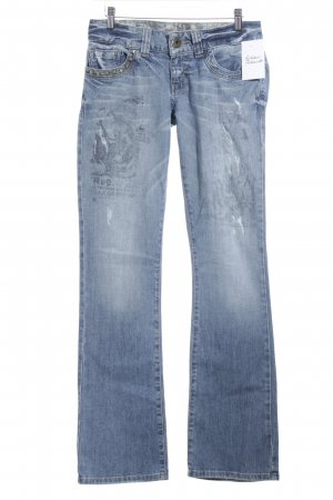Guess Straight-Leg Jeans graublau abstrakter Druck Jeans-Optik