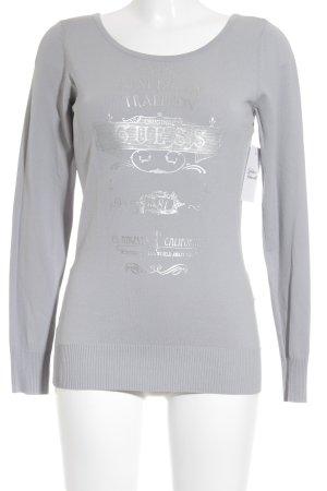Guess Jersey de punto gris-color plata letras impresas look Street-Style
