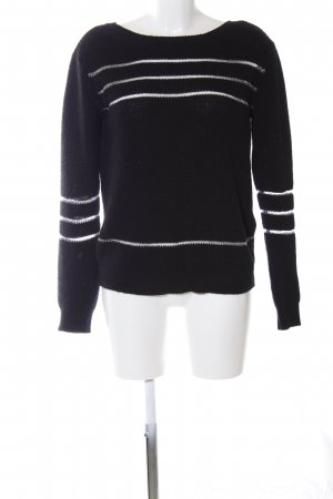 Guess Strickpullover schwarz-weiß Streifenmuster Casual-Look
