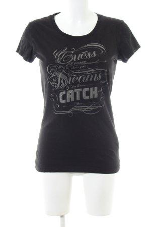 Guess T-shirt zwart gedrukte letters casual uitstraling