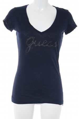 Guess T-shirt donkerblauw-antraciet prints met een thema Metalen look