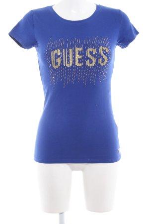Guess T-shirt bleu foncé lettrage imprimé style décontracté