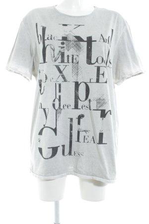 Guess T-shirt lichtgrijs-zwart gedrukte letters casual uitstraling