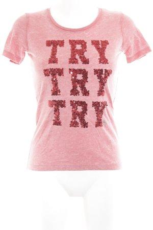 Guess T-Shirt lachs-dunkelrot Schriftzug gestickt Casual-Look