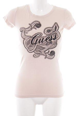 Guess T-Shirt nude florales Muster schlichter Stil