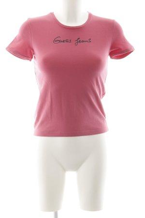 Guess T-Shirt pink-schwarz Schriftzug gedruckt Casual-Look