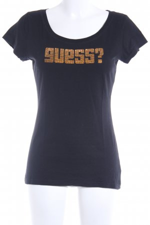 Guess T-Shirt schwarz-goldfarben Casual-Look