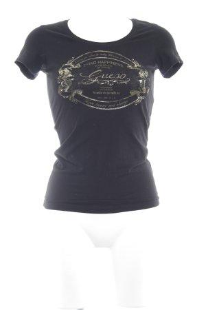 Guess Camiseta negro-color oro letras impresas look casual