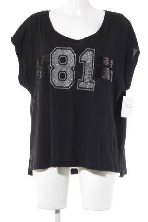 Guess T-Shirt schwarz-silberfarben Motivdruck Casual-Look