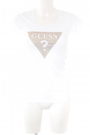 Guess Camiseta blanco-color oro look casual