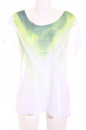 Guess Camiseta blanco-verde look casual
