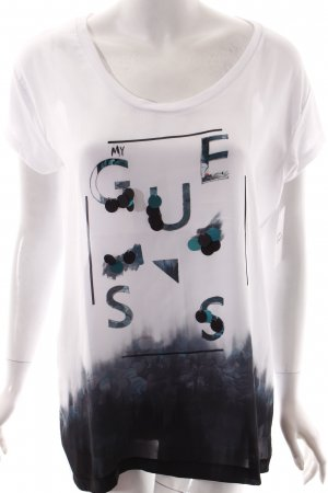 Guess T-Shirt weiß-petrol Motivdruck Materialmix-Look