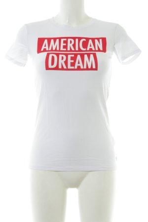 Guess T-shirt blanc-rouge imprimé positionné style décontracté