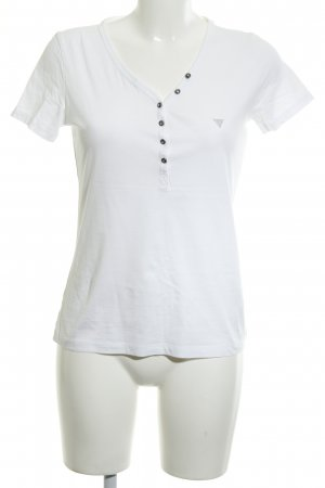 Guess T-Shirt white-silver-colored Plastic elements