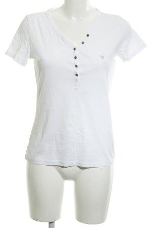 Guess T-shirt blanc-argenté Éléments en plastique
