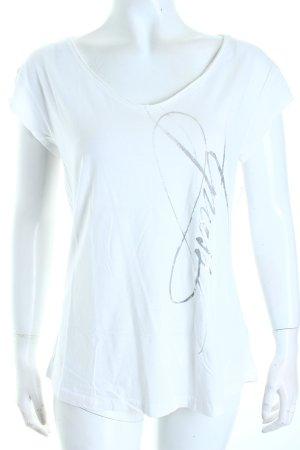 Guess T-Shirt weiß-silberfarben Schriftzug gedruckt Casual-Look