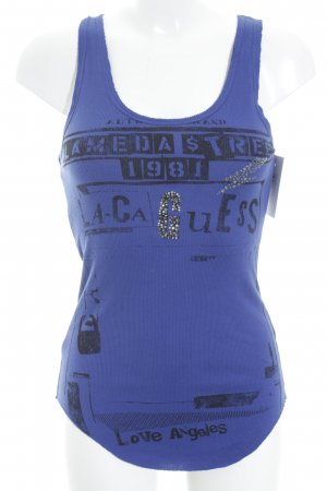 Guess Tanktop stahlblau-schwarz grafisches Muster Casual-Look