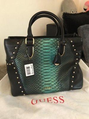 Guess Handbag black-petrol leather