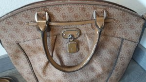 Guess Tasche camel, Canvas + Lackleder