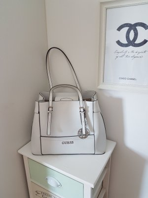 Guess Bolso blanco-color plata