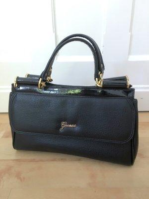 GUESS Tasche Handtasche Henkeltasche schwarz gold Lederimitat
