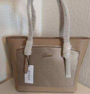 Guess tasche handtasche leder neu nude/beige/gold