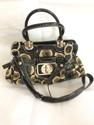 Guess Tasche Handtasche schwarz Lack Muster retro beige khaki