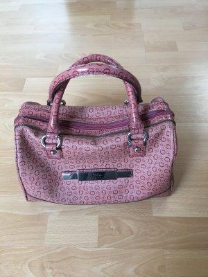 Guess Tasche Henkeltasche Speedy rosa pink Silber Staubbeutel