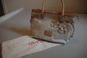 Guess-Tasche mit Blumenapplikationen in beige/lavendel