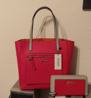 Guess tasche + porteminnaie set shopper grau rot handtasche geldbörse