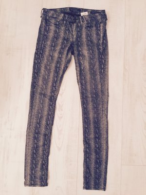 GUESS, Top Hose, Röhre, Slim Fit, Animalprint dezent , Gr. 26, Baumwolle