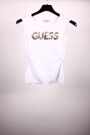 Guess Débardeur blanc-doré tissu mixte
