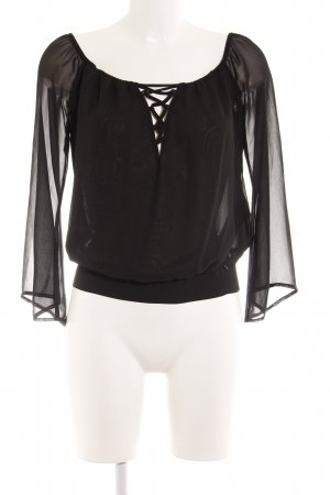 Guess Transparenz-Bluse schwarz Casual-Look