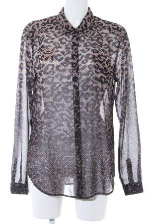 Guess Blusa transparente negro-marrón claro estampado con diseño abstracto